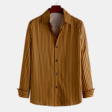 Herrenmode Concise Stripe Single Breasted Langarm-Revers-Shirts