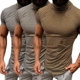 Mens High Neck Collar T Shirt Casual Striped Base Layer Tee Basic Tee Top Blouse