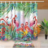 熱帯の花のフラミンゴの防水浴室のシャワーカーテン