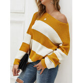 Stripe Contrast Color Thicken One Shoulder Knit Sweaters