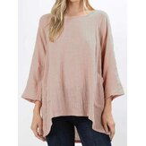 Women Casual Pure Color O-Neck 3/4 Sleeve Pockets Blouse