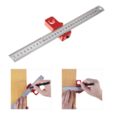 Adjustable 30cm Stainless Steel 45/90 Degree Line Scriber Angle Ruler Inch and Metric Magnetic Positioning Measuring Ruler Woodworking Tool