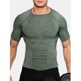 Mens O Neck Short Sleeves Bodybuilding UnderShirt