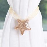 Brillante en forma de estrella Imán Lazo de cortina de cinta Hebilla de cortina de estilo conciso