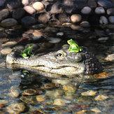 CabezadecocodriloflotanteDecoyde agua Estanque de jardín Decoraciones de arte para depredador de ganso Heron Duck Control