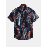 Hombres Colorful Feather Printign verano impresas camisas hawaianas