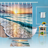 Tapis de rideau de douche en polyester imperméable Ocean Beach Sunset Polyester Set Decor