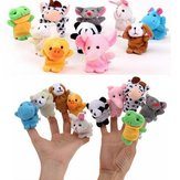 10PCS Cute Cartoon Biological Animal Finger Puppet Plush Toys Child Baby Favor Dolls Finger Puppets