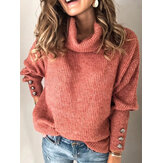 Women Casual Pure Coloe High Collar Sweaters