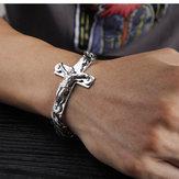 Titanium heren heren stalen kruis armband van titanium