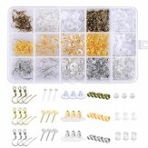 1200Pcs Earring Backs Kit with 15 Style Earring backings, Ea