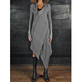 Dames col asymmetrische split midi-jurk met lange mouwen