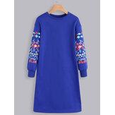 Print Long Sleeve Casual Sweatshirt Dress