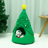 Christmas Tree Elk Pet House Breathable Semi Closed Soft Cat House Green Cat Dog Bed