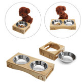 Stainless Steel Durable Double Pet Bowls Dish Dog Cat Stand Feeder Anti Slip Food Water Bowl