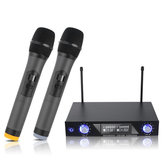 Professional Wireless 2 Channel Dual Wireless Handheld Mic Microphone System for Studio Karaoke Music Players