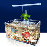LED Light Acrylic Clear Aquarium Mini Betta Fish Tank Desktop Water Pump