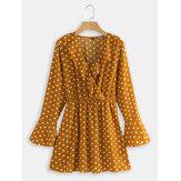 Puanl V Yaka Uzun Kollu Şifon Mini Elbise