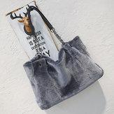 Mode Damen Plüsch Pelz Handtasche Geldbeutel Tote Shopping Große Schulter Reisen