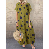 Polka Dot Print O-neck Loose Bohemian Long Maxi Dress