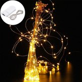 LUSTREON DC3V Warm White Yellow 2M Silver Wire Turn On LED String Light for Christmas Holiday Vase Decor