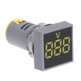 3 adet Sarı 22MM AC 60-500V Voltmetre Kare Panel LED Dijital Gerilim Ölçer Gösterge Işığı