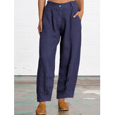 Plus Size Women Solid Color Cotton Casual Pants with Pockets