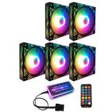 Coolmoon BILLOW 5 STKS Colorful Achtergrondverlichting 120mm CPU Koelventilator Mute PC Heatsink met de afstandsbediening