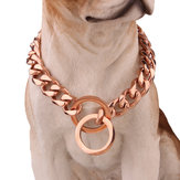 Stainless Steel Rose Gold Chain Dog Necklace Pet Collar Training Curb Dog Collar
