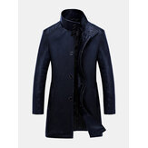 Men's Mid-Long Casual Business Thicken Warm Stand Collar Jacket