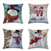 Christmas Snowman Printing Cotton Linen Cushion Cover Home Decorative Pillow Case