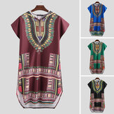 Kurzärmliges afrikanisches Herren-T-Shirt Dashiki Kaftan Shirt Hippie Poncho Kleid Tops