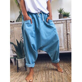 Casual Solid Drawstring Waist Harem Pants