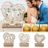 Romantic Ornament Wedding Wooden LED Light Ornament Heart Shape Table Decorations Light