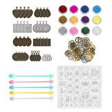 55 stks / set siliconen gieten mallen en gereedschap sieraden hanger hars schimmel diy
