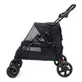 Folding Pet Stroller 4 Wheeled Dog Cat Carrier Cart Outdoor Travel Puppy Trolley