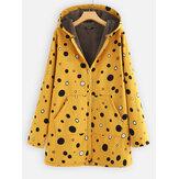 Print Polka Dots Pockets Quilted Fleece Hooded Coats