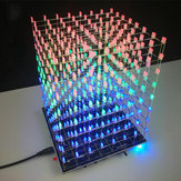 DIY 3D Light Cube Kit 8x8x8 LED Built-in MP3 Music Spectrum 3W Speaker Amplifier