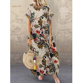 Women Cotton Crew Neck Loose Baggy Print Maxi Dress