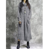 Corduroy Long Sleeve Turtleneck Causal Baggy Maxi Dress