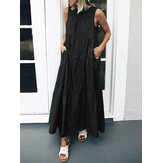 Women Casual Long Pleated Loose Midi Tank Dress With Pocket