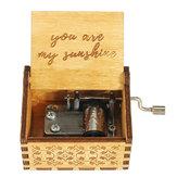 Hand Crank houten gegraveerde thema muziekdoos muzikale accessoires voor muziekliefhebber