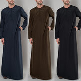 Men Solid Color Elegant Long Sleeve Kaftan Shirts