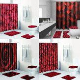 4 Adet / takım Hooks ile Banyo Duş Perdesi Set Yıkanabilir Klozet Kapağı Kaide Kilim Kapak Tuvalet