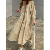 Solid Loose Shirt Dress
