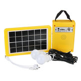 Solar Panel Power Lighting System + 2 LED Light Bulbs USB Charger Support FM Bluetooth SD Card