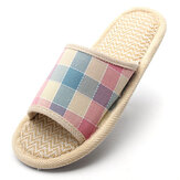 Frauen Anti-Rutsch-Flachs Sohle Plaid Open Toe Home Hausschuhe