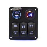 12V/24V 3 Gang Rocker Switch LED Panel Circuit Breaker Blue For Car Boat Marine