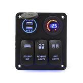 12 V / 24 V 3 Gang Wippschalter LED Panel Leistungsschalter Blau Für Auto Boot Marine