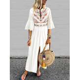 Bohemian Floral Print Flare Sleeve High Split Long Maxi Dress